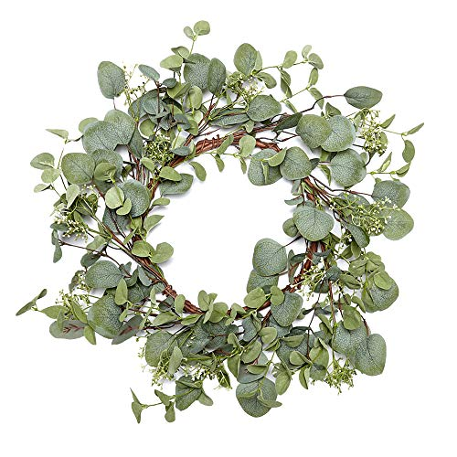 - VGIA Green Leaf Eucalyptus Wreath for Summer/Fall Festival Celebration Front Door/Wall/Fireplace Laurel/Eucalyptus Hanger Home Relaxed Decor