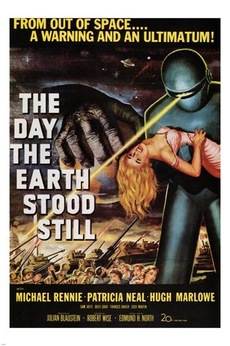 THE DAY THE EARTH STOOD STILL by Robert Wise 1951 MOVIE POSTER 24X36 new rare (reproduction, not an original) (Horror Classics Poster)