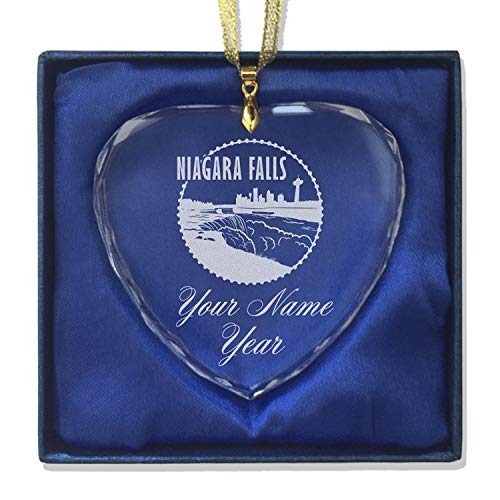LaserGram Christmas Ornament, Niagara Falls, Personalized Engraving Included (Heart Shape) (Clear Canada Ornaments)