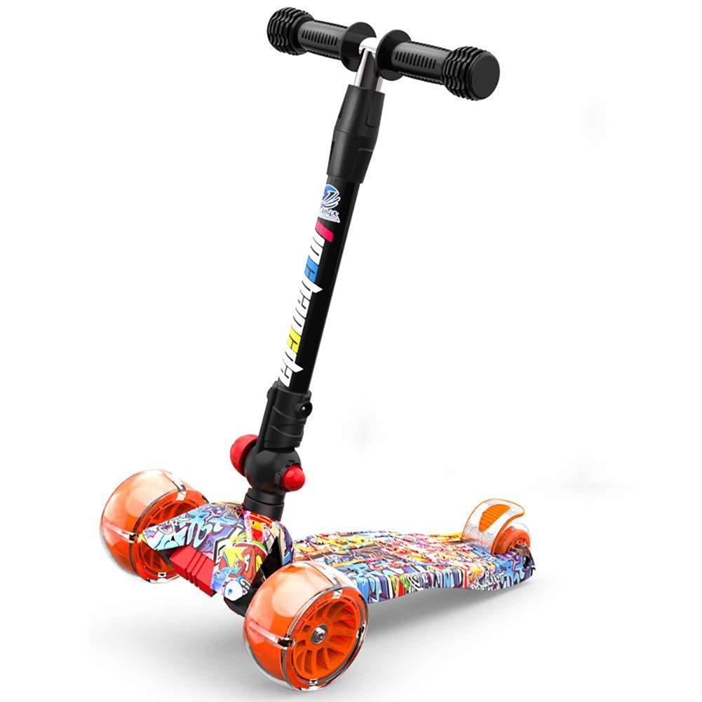 CMXIA Scooter per Bambini Pieghevole Regolabile in Altezza 2-12 Anni 5 Cm Ruota per Bicicletta Extra Larga Portatile per Bambini Boy Female Baby Toddler One Foot Scooter ( Colore   arancia )