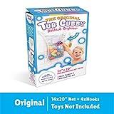 "Bath Toy Organizer -The Original Tub Cubby - Large 14x20"" Quick Dry Bathtub Mesh Net - Massive Baby Toy Storage Bin + 3 Soap Pockets 4x Suction Hooks & 3M Stickers"