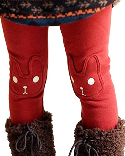 BogiWell-Kid-Girl-Fall-Winter-Cute-Warm-Thick-Rabbit-Printed-Fleece-Legging-Pant
