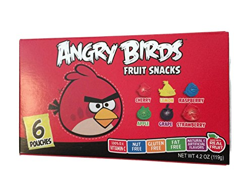 Angry Bird Fruit Snacks, (2 Box Deal) for Total of 12 Pouches, 6 Different Flavors