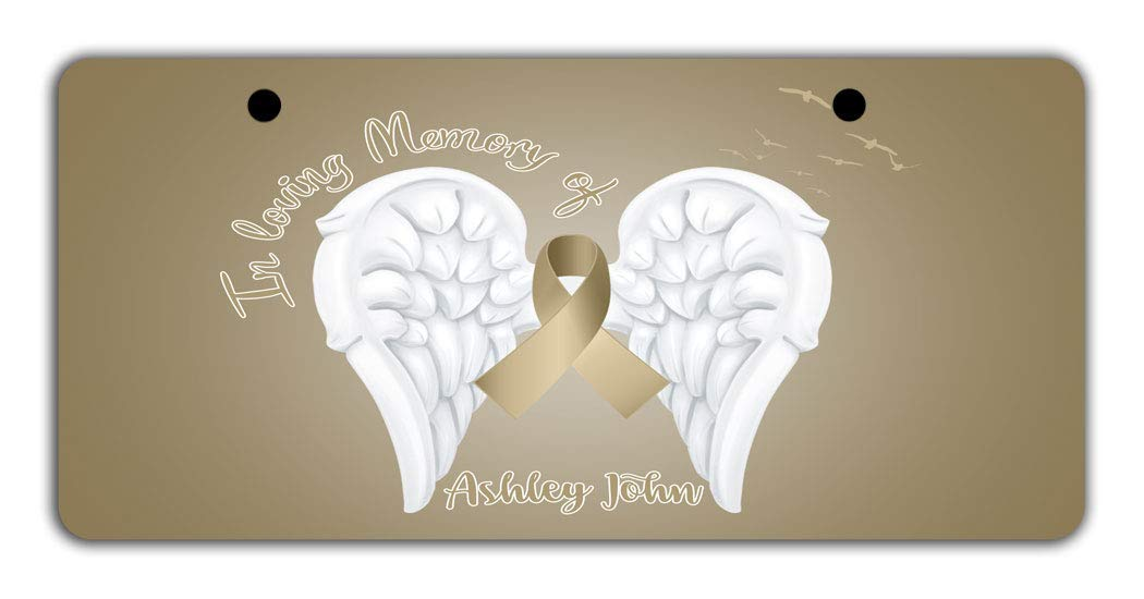 BRGiftShop Personalized Custom Childhood Cancer Wings Ribbon In Loving Memory Bike Stroller Childrens Toy Car 3x6 License Plate Tag