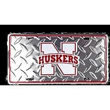 Nebraska Corn Huskers diamond emboss metal license plate 6 x 12