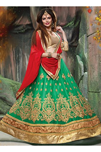 IWS Indian Women Designer Wedding green Lehenga Choli K-4595-40307