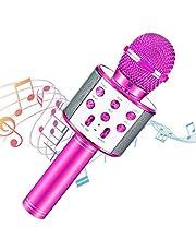 Micrófono Karaoke Bluetooth, Portátil Inalámbrica Micrófono con Altavoz y LED, Karaoke Inalámbrico Bluetooth para niños, niñas Canta Partido Musica, adultos Casa KTV Party para Android/ Iphone/ Ipad/ PC(Rosa)