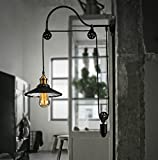 HAIXIANG Retro Industrial Style Wrought Iron Long Arm Pole Wall Lamp Swing Arm Wall Mount Light Sconces