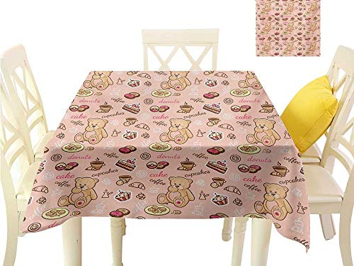 (Table Cloth Kids,Teddy Bear with Cupcakes Cookies Donuts Cakes Cute Playroom Cartoon Print,Coral Pink Sand Brown Summer Table Cloths W 70