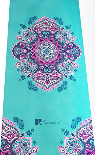 Resveralife Mandala Yoga Mat Luxury Non-Slip Exercise Mats to Put You in a Sacred Space No Matter Where You Are