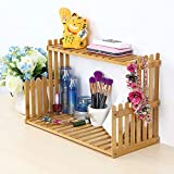 OGORI Plant Stand Flower Display Stand, 2 Tier Desk Shelf Rack Bamboo Bonsai Tools
