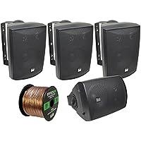4 x Dual-Electronics LU53PW 125 Watt 3-way Indoor/Outdoor Speakers (Black), and Enrock Audio 16-Gauge 50 Foot Speaker Wire