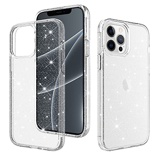 Crystal Glitter for iPhone 13 Pro Case Bling Clear Sparkly [Military Grade Drop Tested] Shockproof Protective Phone Cases Cute Slim Fit Cover for Women Girls for iPhone 13 Pro 6.1 Transparent