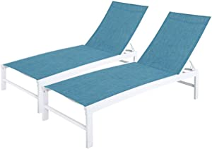 Crestlive Products Aluminum Adjustable Chaise Lounge Chair Outdoor Five-Position Recliner, Curved Design, All Weather for Patio, Beach, Yard, Pool(2PCS Blue)