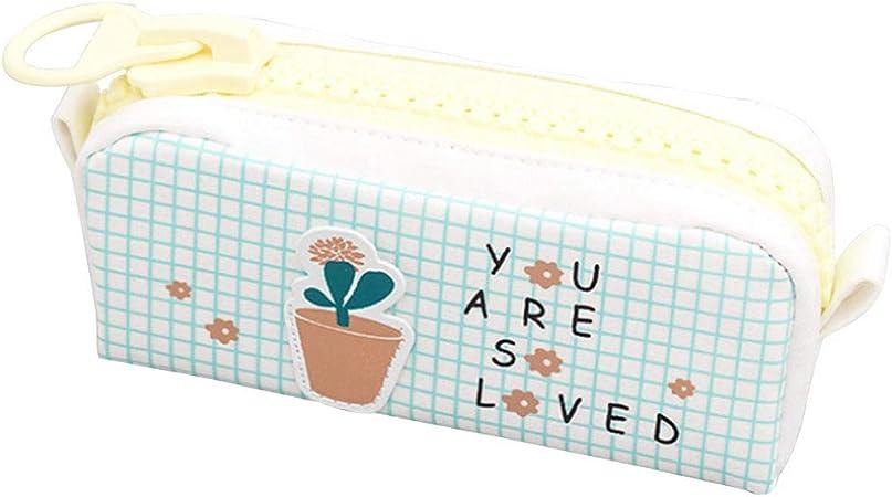 SUNFLOWER-BOOM - Estuche para lápices, diseño de niña, color big zipper cactus 19.5 * 6.5 * 8.0cm/7.7 * 2.6 * 3.1in: Amazon.es: Oficina y papelería