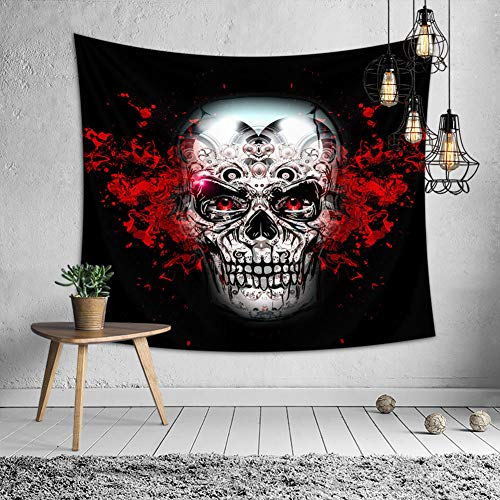OATHENE Day of The Dead Black Tapestry, Sugar Skull Face Paint Girl with Roses, Dia de Los Muertos,Dorm Décor, Polyester, 60L x 51 W Inches (150cm x 130cm),Man -