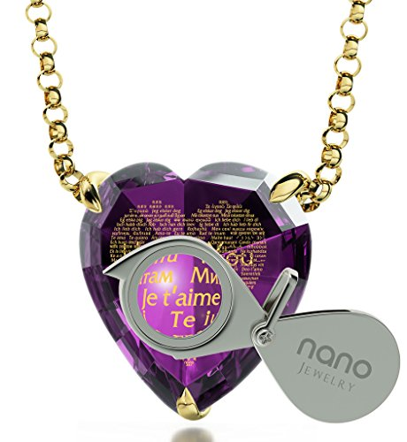 Gold Plated Heart Necklace I Love You Pendant Inscribed 120 Languages Purple Cubic Zirconia Gemstone, 18'' by Nano Jewelry