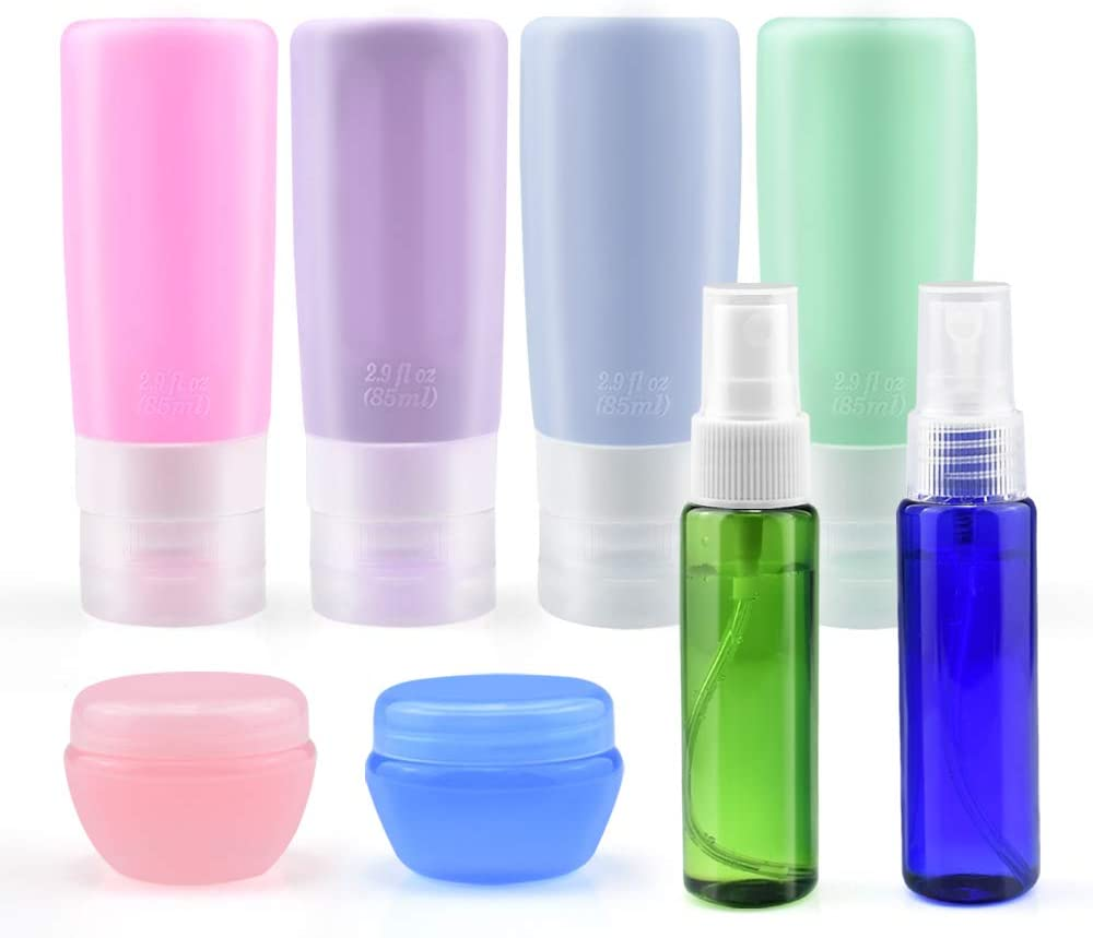 Travel Bottles TSA Approved, Leakproof Silicone Travel Containers Set, INSMART Squeezable 3oz Travel Toiletries Accessories for Shampoo, Conditioner, Lotion, Soap Liquids etc. (8 Pack)