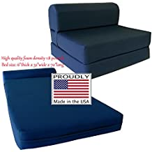 navy sleeper chair folding foam bed sized 6   thick x 32   wide x 70   long studio guest foldable chair beds foam sofa couch high density foam 1 8 pounds  amazon    d u0026d futon furniture  rh   amazon