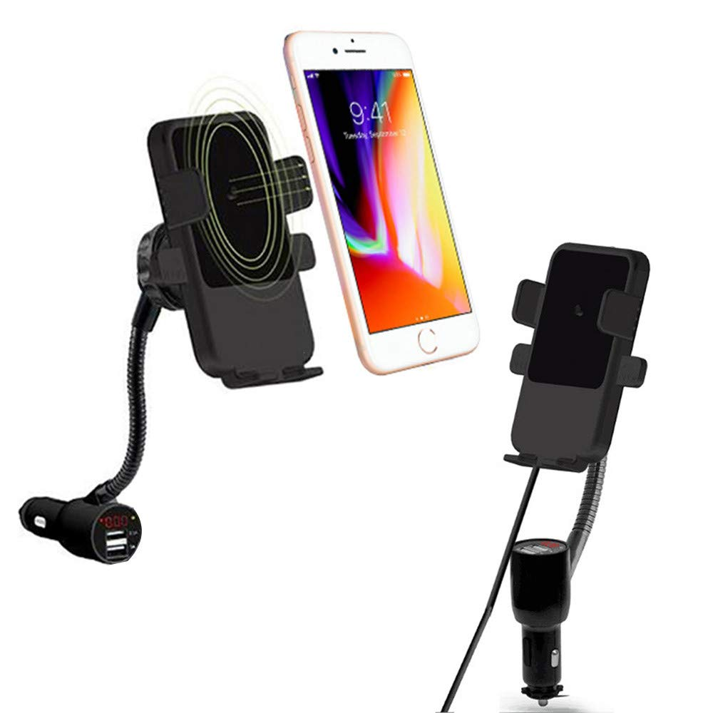 Fabselection Qi Wireless Car Charger with Cigarette Lighter, Wireless Charging Car Mount USB CeliPhone Holder for iPhone 8/8 Plus/X/XR/XS/Samsung Galaxy Note 9/ S8/Note 7oogle Nexus by Fabselection