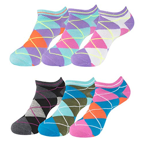 - Ladies Assorted Argyle (6PK) No-Show Socks