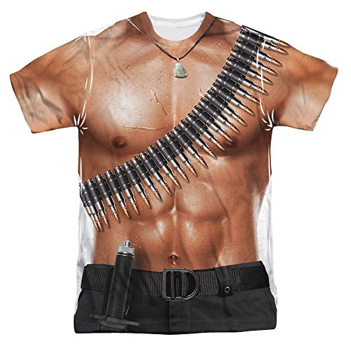 [RAMBO III/RAMBO COSTUME (FRONT/BACK PRINT)-S/S JUNIOR POLY CREW-WHITE-SM] (Rambo First Blood Costume)