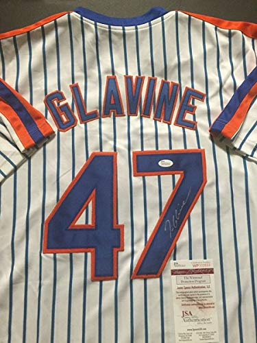 (Autographed/Signed Tom Glavine New York Pinstripe Baseball Jersey JSA COA)