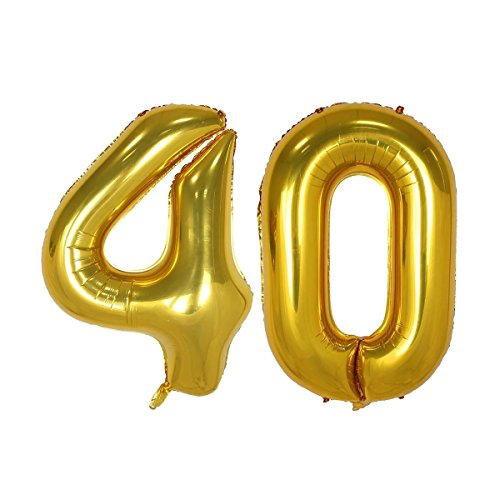 40inch Gold Number 40 Balloon Party Festival Decorations Birthday Anniversary Jumbo foil Helium Balloons Party Supplies use Them as Props for Photos (40inch Gold Number -