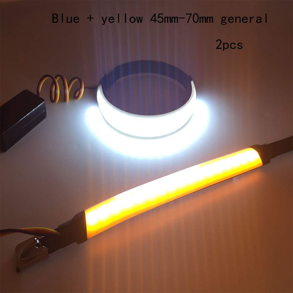 Behavetw 2 pcs Moto LED Strip lumiè res, Ultra-Mince, é tanche Double Couleur Bande Lumineuse, LED de Moto Avant Anneau Lumineux Indicateur de Signal, Blanc/Rouge, Taille Unique étanche Double Couleur Bande Lumineuse