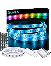 LED Strip 5m, Govee RGB LED Lichterkette Streifen Lichtband mit Fernbedienung, Hell 5050 LED Stripes Lichterkette Band Selbstklebend Leiste für Zuhause, Schlafzimmer, TV, Schrankdeko, Farbwechsel