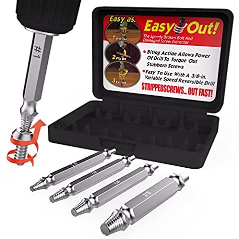 4 Piece Damaged Screw Remover Set. Damaged Screw and Bolt Extractor Set Easily Remove Stripped or Damaged Screws. Made From H.S.S. 4341#, the Hardness Is 62-63hrc - (3 16 Allen Wrench Long)