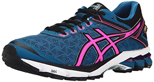 ASICS Women's GT 1000 4 G TX Running Shoe, Mosaic Blue/Hot Pink/Black, 6.5 M US