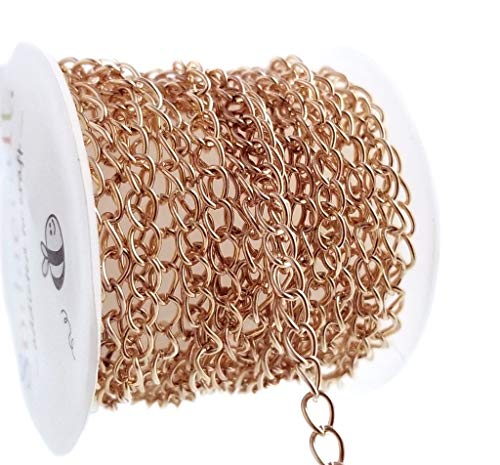Rose Gold Curb Link Chain Spool for Jewelry Making (4 x 5.5mm) 4mm