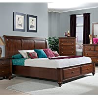 Picket House Furnishings Channing King Panel Storage Bed in Cherry