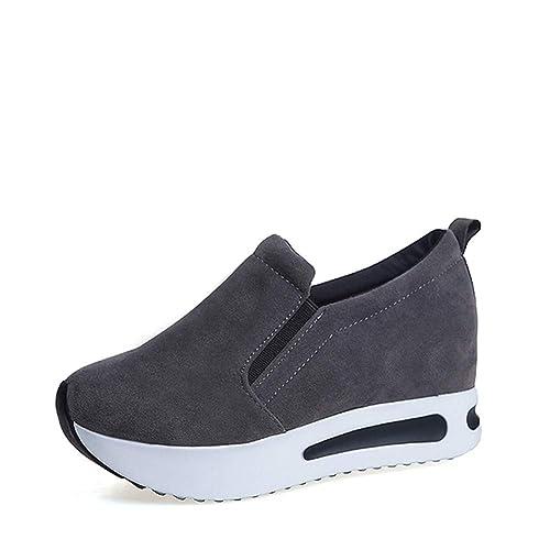 Zapatillas de Mujer Plataformas Zapatos Otoño Algodón Resbalón de Tela en Mocasines Suede Banda elástica Costura Calzado Informal: Amazon.es: Zapatos y ...