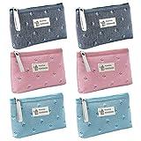 Aspire 6-Pack Flower Floral Makeup Bags (3-4 Colors), Canvas Zipper Pouches, Wedding Favor