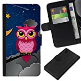 Good Phone Accessory // Leather Wallet Protective Case Card Money Holder Cover for Sony Xperia Z1 L39 // Pink Owl In Night