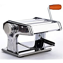 """7"""" Pasta Maker Machine-3 in 1 Stainless Steel Pasta Roller Maker Machine Cutter, 2 Cutting Die and Flat roller with Table Top Clamp for Spaghetti Noodle Lasagna Tagliatelle"""