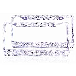 2 Bling License Plate Frame for Women Girl Pure Handmade Car Tag Plate Frame Bouns Matching Screws accessories with Gift Box by ZATAYE