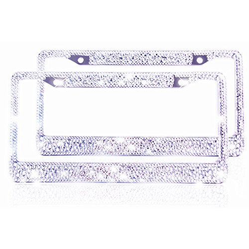 ZATAYE 2 Bling License Plate Frame for Women Girl Pure Handmade Car Tag Plate Frame Bouns Matching Screws Accessories (Crystal)