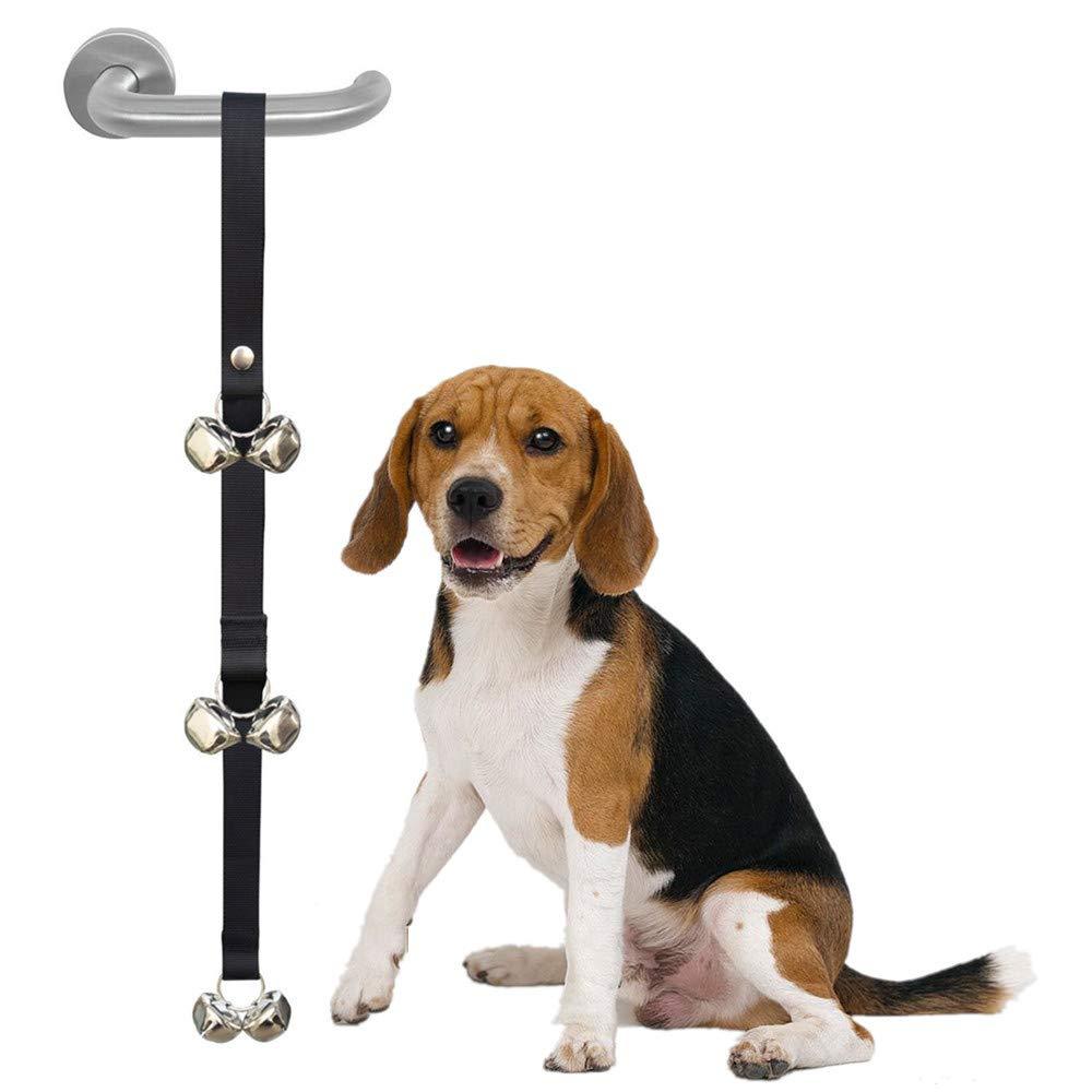 Hokil (Upgrades) Potty Training Dog DoorBell Prevent Barking and Scrating Doors Damaging Nails (Black)