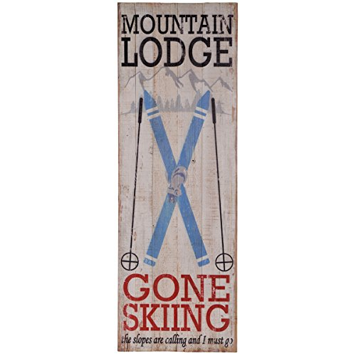 (NIKKY HOME Rustic Sign with Quote Mountain Lodge Gone Skiing Wall Plaque )