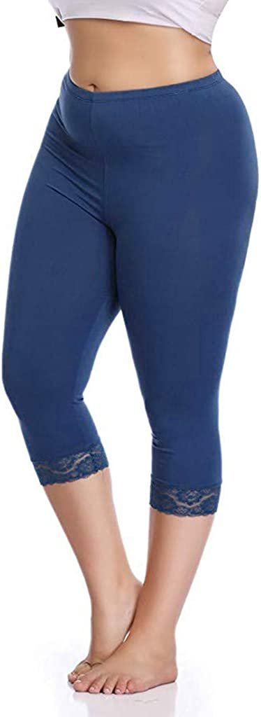 High Waist Capri Leggings for Women Plus Size Stretch Lace Trim Soft Tights Pants Workout Running Tight Pants Tummy Control