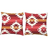 Set of 2 RoomCraft Southwest Stripes Throw Pillows 18x18 Square White Indoor-Outdoor Cushions