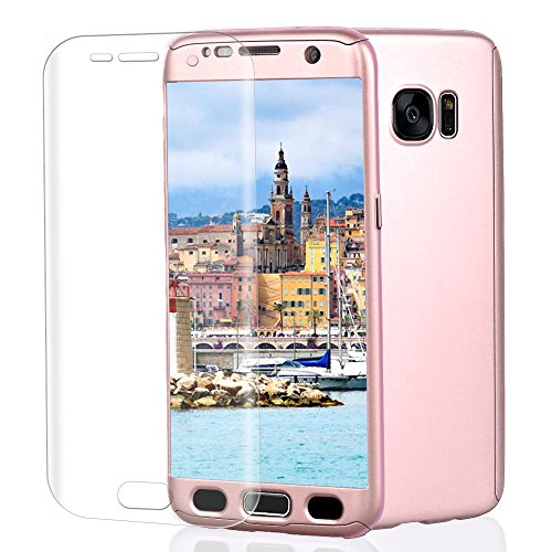 se, VPR 3 in 1 Ultra Thin Full Body Protection Slim Hard Premium Luxury Cover Shock Absorption PC [With TPU and Film Screen Protector] case for Samsung Galaxy S7 2016 (RoseGold) ()