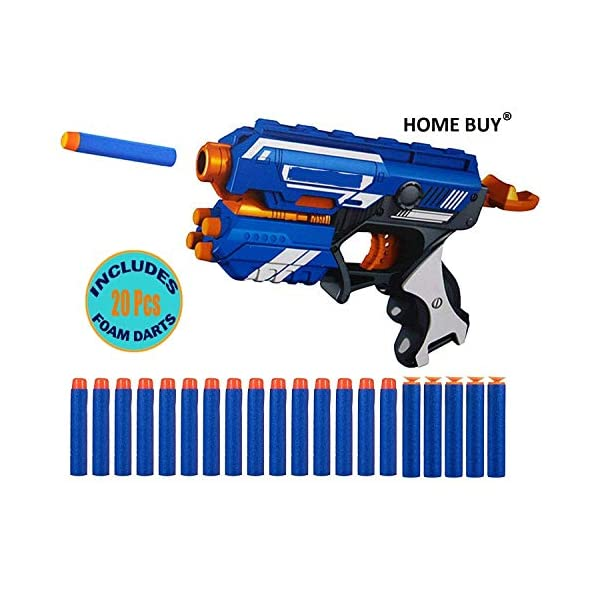 home buy Blaze Storm Manual Soft Bullet Shooting Gun Toy with 20 Safe Foam Bullets for Kids (Multicolour)