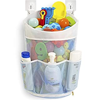 Tenrai Mesh Bath Toy Organizer with YKK Zipper, Multiple Ways to Hang, Ultra Large Capacity & Large Opening, Bathroom Toy Holder, Baby Bathtub Toys Storage Bag with 3 Side Pockets ( Large, Blue )