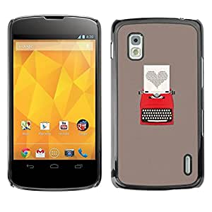 Be Good Phone Accessory // Dura Cáscara cubierta Protectora Caso Carcasa Funda de Protección para LG Google Nexus 4 E960 // Heart Writing Love Writer Grey