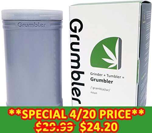 MyGrumbler.com Grumbler - Medical Herb and Accessory Storage Case w/Detachable Grinder, Pre-Roll Protector, Grinds Funnel. Smell Proof, Food Safe, Child Resistant (Executive Grey)
