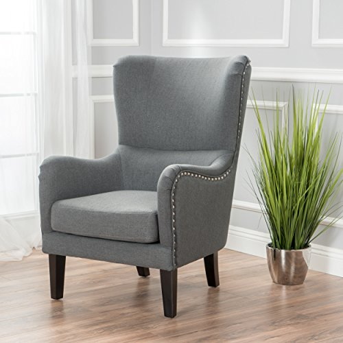 Sheffield Charcoal Fabric Wingback Studded (Studded Wing)